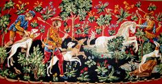 "NEEDLEPOINT CANVAS*// ""Chasse a Licorne"" By Seg de Paris.  A Vintage Canvas Reproduction Of A Medieval Tapestry. //Was (270.00 D0llars) Now!"