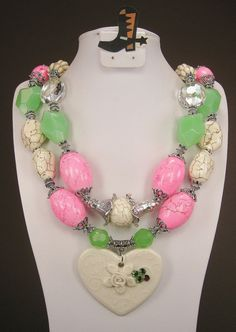 """Rodeo Queen Love"" Pink / Green / White Chunky Western Rodeo cowgirl necklace -  by www.CayaCowgirlCreations.etsy.com - $53.00"