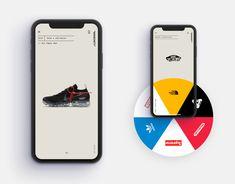 """Shoeciety"" - Sneakers App Concept on Behance Mobile Ui Design, App Ui Design, Interface Design, User Interface, Design Design, Interior Design, Design Thinking, Motion Design, Website Design Layout"
