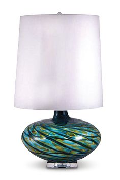 Aqua Swirl Lamp with blue and green glass from the CORT Signature Collection 2013
