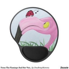 Fiona The Flamingo And Her Visitor Gel Mouse Pad. Artwork by #OneArtsyMomma