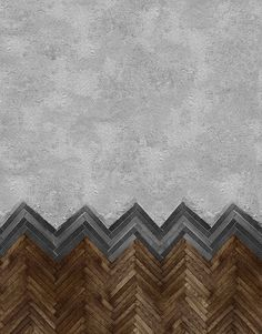 Amazing combo of both concrete herringbone wood installation Behang WALL DECO Designwebwinkel Click the image to read more! Floor Patterns, Tile Patterns, Textures Patterns, Floor Design, Wall Design, Design Design, Custom Design, Decoration Entree, Beton Design
