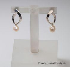 Argentium silver and pearl drop earrings by Tom Kruskal Designs, $171
