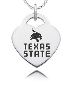 Our Texas State Bobcats heart charm is made from solid sterling silver. State of the art laser technology helps us duplicate your favorite logo in exact detail.