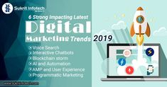 6 Strong Impacting Latest Digital Marketing Trends That Can Contribute High Towards Your Brand Recognition In Digital Marketing Trends, Digital Marketing Strategy, Content Marketing, Online Marketing, Social Media Marketing, Low Cost Internet, Billboard Signs, Blockchain Technology, Web Development