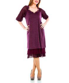 Look at this #zulilyfind! Burgundy Layered Lace-Trim Dress - Plus by La Mouette #zulilyfinds