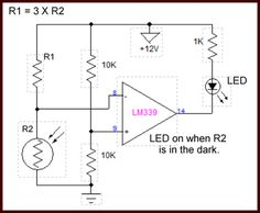 Photocell comparator circuit turns on in dark. Analog Signal, Electronics Components, Circuits, Larger, Dark, Digital
