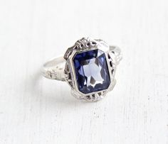 Antique 10k White Gold Sapphire Ring - Vintage Art Deco Size 7 1/2 Filigree Dark Blue Gemstone 1920s Baskin Brothers Fine Jewelry by Maejean Vintage on Etsy, $395.00