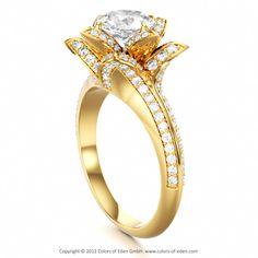 White Topaz Lotus Engagement Ring #engagement #ring