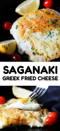 Saganaki Cheese ( Greek Pan Fried Cheese Recipe) - Saganaki Cheese is one of those Greek Recipes that once you try it you'll feel compelled to order - Greek Cooking, Cooking For Two, Healthy Eating Tips, Clean Eating Snacks, Greek Fried Cheese, Cheese Recipes, Cooking Recipes, Greek Food Recipes, Cheese Dishes
