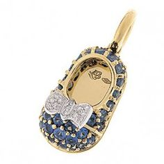 Aaron Basha Blue Sapphire Baby Shoe with Diamond Bow
