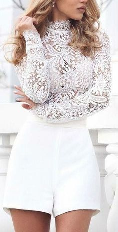 28 Gorgeous Bachelorette Outfits With A Wow Factor 28 beautiful bachelorette outfits with a wow factor: # White shorts and a lace turtleneck with long sleeves All White Outfit, Lace Outfit, White Outfits, White Outfit Party, Fresh Outfits, Bachelorette Outfits, Bachlorette Party, Mode Outfits, Fashion Outfits