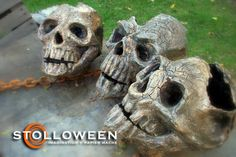 Website Stolloween.com has TONS of tutorials to make all kinds of Halloween things like these skulls and masks, and jackolaterns, tombstones, everything spooky!
