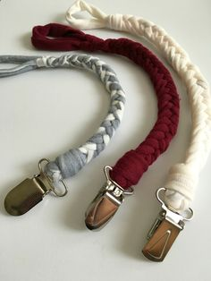 Braid a pacifier clip with old t-shirts so you don't lose binkies and save $10 each.