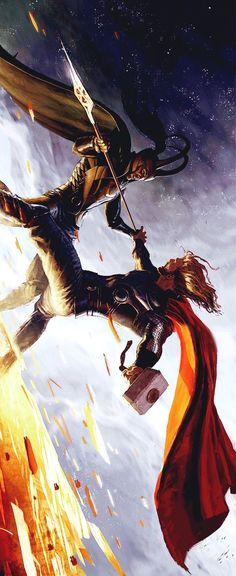 El joven Thor fue criado junto con Loki, quien había sido adoptado por Odín, después de que el padre de Loki, el gigante del hielo Laufey, hubiese muerto en combate. Desde su niñez, Loki estaba celoso de Thor, y su odio creció al pasar los años hasta desarrollar el deseo de destruirlo. Esta enemistad persiste.