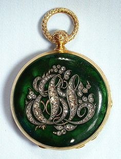 beautiful Swiss 18K gold, diamond and enamel keywind ladies antique pendant watch circa 1860 ....