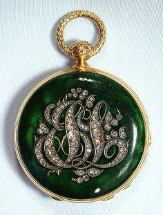 beautiful Swiss 18K gold, diamond and enamel keywind ladies antique pendant watch circa 1860 ....