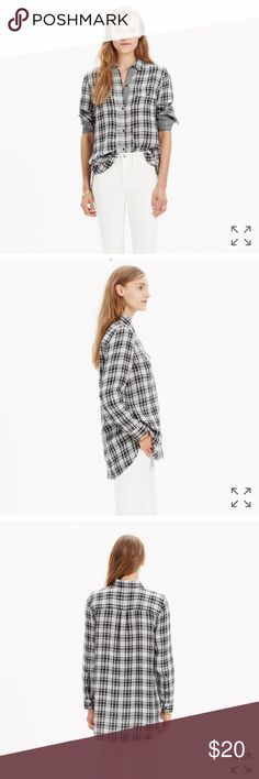 madewell ex boyfriend shirt in kemp plaid in good used condition   PRODUCT DETAILS A timeless button-down shirt in an airy double-faced plaid with mini checks on the flip side. Slightly oversized with ready-to-roll sleeves, this version is just right.    Slightly oversized fit. Cotton. Machine wash. Madewell Tops