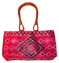 INDIAN HANDICRAFT ETHNIC HAND EMBROIDERED MIRROR BAMBOO HANDLE PURSE WOMAN BAG #Handmade #EveningBag