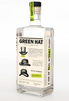 Green Hat Gin packaging - Great color combination and using iconic hats as icons for the packaging