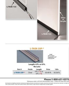 Edge channel LED to light plastic or glass. Outwater Plastics - 2016 Master Catalog - page R-34