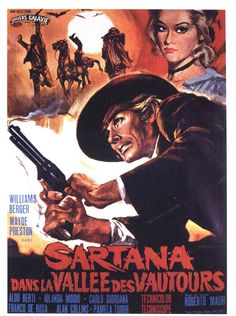 """Poster for """"Sartana in the Valley of Death"""". """"Sartana in the Valley of Death"""" (Italian: """"Sartana nella valle degli avvoltoi"""") is a 1970 Italian spaghetti western film directed by Roberto Mauri. It stars William Berger."""