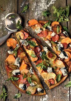 Two Potato Chorizo Pizza No Dairy Recipes, Pizza Recipes, Pesto Sauce, Chorizo, Paella, Vegetable Pizza, Sweet Potato, Sausage, Potatoes