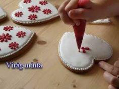 Mézeskalács szív virágmintával gorgeous white and red folk designs Christmas Gingerbread House, Gingerbread Cookies, Christmas Cookies, Heart Shaped Cookies, Heart Cookies, Honey Cookies, Sugar Cookies, Cookie Decorating Supplies, Cake Decorating