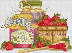 Gallery.ru / клубничное варенье - Платные схемы - tamriko-lamara Cross Stitch Fruit, Cross Stitch Kitchen, Cross Stitch Flowers, Cross Stitching, Cross Stitch Embroidery, Cross Stitch Patterns, Stitch 2, Needlepoint, Needlework