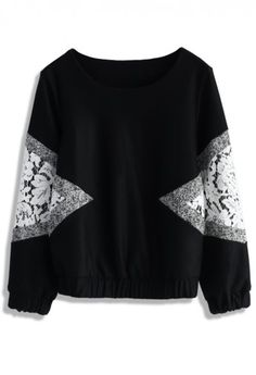 Lace Inserted Wool Blend Jumper