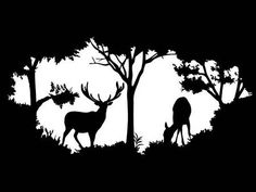 Illustration of Animal of wildlife (deer) vector art, clipart and stock vectors. Forest Silhouette, Animal Silhouette, Silhouette Art, Kirigami, Deer Design, Wood Burning Patterns, Stencil Art, Stencils, Silhouette Portrait