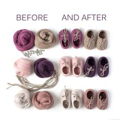 Before and after. Love to see this transformation of wool - from soft Merino wool roving to the form of baby booties.  Want to make yours? This pastel wool roving set is available (and more others, too)