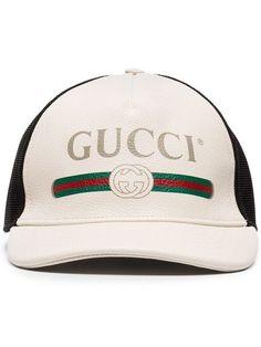 024d20d47976 GUCCI GUCCI LOGO-PRINT LEATHER AND MESH BASEBALL CAP - WHITE.  gucci.  ModeSens Men