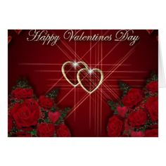 gold hearts and red roses card