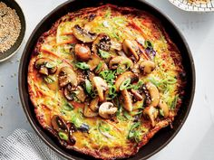 "Egg foo yong is like a cross between an American-style omelet and a crispy Chinese pancake, loaded with vegetables and topped with a mushroom ""gravy."" It's a quick meal thanks to packaged broccoli slaw, matchstick-cut carrots, and microwavable rice. 400 Calorie Dinner, 400 Calorie Meals, Low Calorie Recipes, Vegetarian Recipes Easy, Asian Recipes, Healthy Recipes, Chinese Recipes, Egg Foo Young Recipe Vegetarian, Diabetic Recipes"