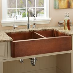farmhouse sink | ... 60/40 Offset Double Well Copper Farmhouse Sink | Signature Hardware