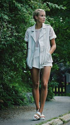 Front Row Shop White Loose Check Cutout Tee by Petra Karlsson