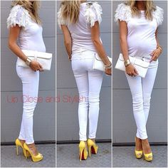 Maternity Style - White on White w/ a Pop of Color