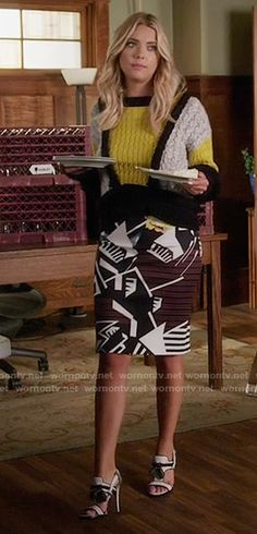Pretty Little Liars fashion: Hanna Marin in a black, white, and yellow cableknit For Love and Lemons sweater; and a maroon, black, and white neoprene Clover Canyon skirt