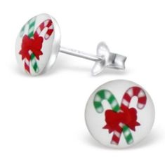 Children's Silver Candy Cane Ear Studs