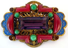 ART DECO CZECH ENAMEL AMETHYST PEKING GLASS BROOCH PROBABLY BY NEIGER