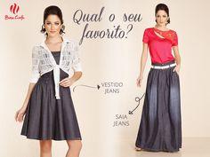 Qual o seu look favorito? Saia ou vestido jeans? #modaevangelica