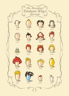 1919 - Popeye  1929 - TinTin  1930 - Betty Boop  1935 - Luluzinha  1950 - Snoopy  1952 - AstroBoy  1959 - Asterix e Obelix  1960 - Os Flintstones  1966 - Os Smurfs  1969 - Scooby-Doo  1970 - Josie e as Gatinhas  1983 - He-Man  1985 - ThunderCats  1986 - Ghostbusters  1986 - Kalvin  1987 - The Simpsons  1993 - Beavis e Buthead  1995 - Freakazoid  1996 - O Laboratório de Dexter  2000 - Aquateen