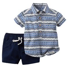 With faux wood buttons and beachy blue stripes, this 2-piece indigo set is a handsome and easy outfit for your little guy.