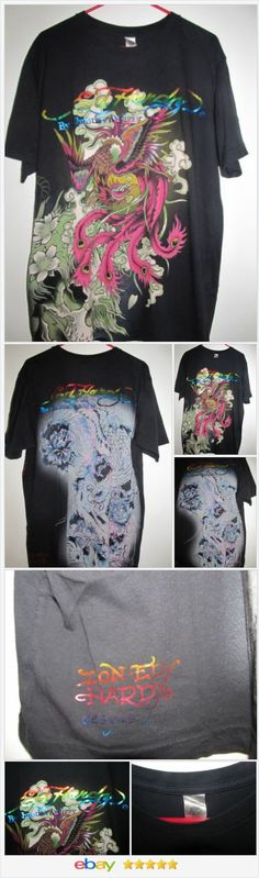 Don Ed Hardy Christian Audigier T Shirt XL Front & Back Graphic Textured Eagle