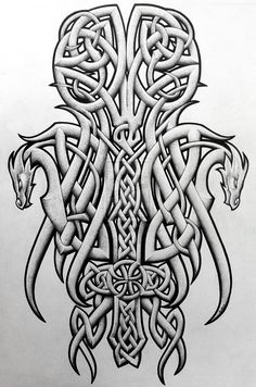 ✿ Tattoos ✿ Celtic ✿ Norse ✿ Celtic dragons and cross by Tattoo-Design