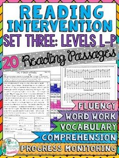 Reading Intervention Program for Fountas and Pinell Levels L-P! This resource includes daily intervention lessons for a month! It includes 20 fluency passages, targeted comprehension, word work, and vocabulary for each day. It also includes progress monitoring line graphs, bar graphs, and so much more!! ($)