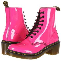 Dr. Martens Clemency 8-Tie Boot Women's Lace-up Boots ($70) ❤ liked on Polyvore featuring shoes, boots, pink, chunky heel shoes, front lace up boots, tie shoes, lacing boots and slip resistant boots