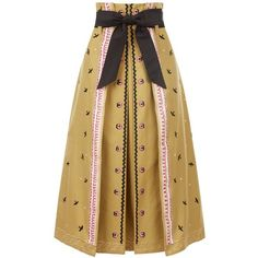 Temperley London Poppy Field Skirt ($1,495) ❤ liked on Polyvore featuring skirts, brown, poppy skirt, a line skirt, mid length a line skirt, mid length skirts and temperley london
