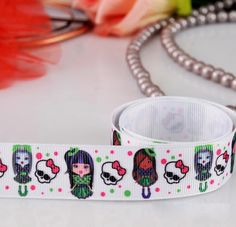 2 Yard 7/8'' 22mm Girls and Skull Grosgrain Dots by ijustlike, $1.80